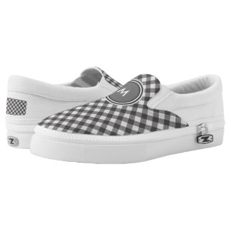 Personalize:  Black and White Gingham Slip on Printed Shoes