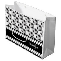 Personalize Black and White Soccer Balls Large Gift Bag