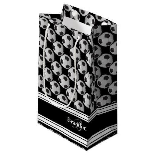Personalize Black and White Soccer Balls Small Gift Bag