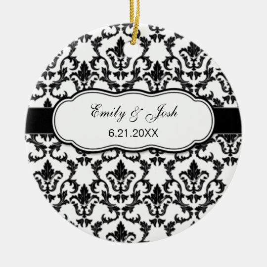 Personalize Black Damask Ornament
