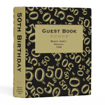 Personalize: Black/Gold 50th Birthday Guest Book Mini Binder