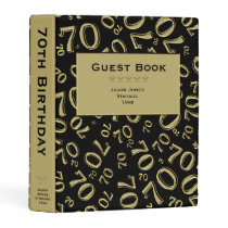 Personalize: Black/Gold 70th Birthday Guest Book Mini Binder
