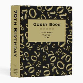 Personalize: Black/Gold 70th Birthday Guest Book Mini Binder
