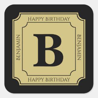 Personalize: Black/Gold Bold Initials Birthday Square Sticker