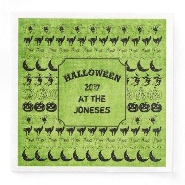 Halloween Themed Personalize:  Black/Green Halloween Font Art Paper Dinner Napkin
