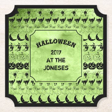 Halloween Themed Personalize:  Black/Lime Green Halloween Font Art Paper Coaster