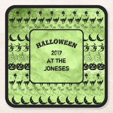 Halloween Themed Personalize:  Black/Lime Green Halloween Font Art Square Paper Coaster