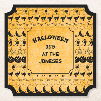 Personalize:  Black/Orange Halloween Font Art Paper Coaster
