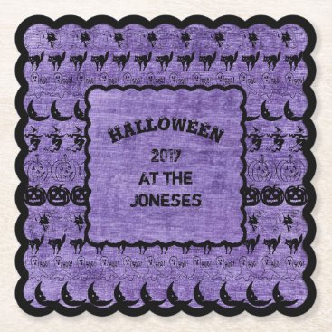 Halloween Themed Personalize: Black/Purple Halloween Font Art Paper Coaster