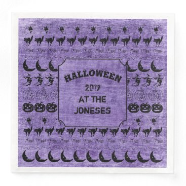 Halloween Themed Personalize:  Black/Purple Halloween Font Art Paper Dinner Napkin