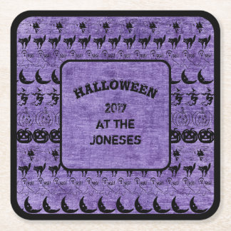 Personalize:  Black/Purple Halloween  Fun Font Art Square Paper Coaster