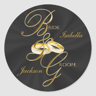 Personalize Black Satin & Gold Wedding Rings Classic Round Sticker