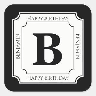 Personalize: Black/White Bold Initials Birthday Square Sticker