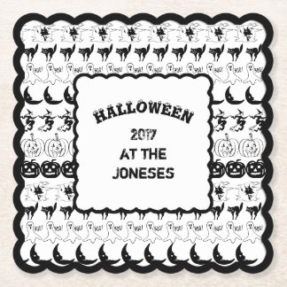 Personalize: Black/White Halloween Font Art Paper Coaster