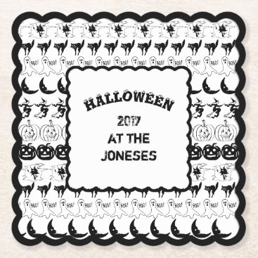 Halloween Themed Personalize: Black/White Halloween Font Art Paper Coaster