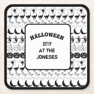 Personalize:  Black/White Halloween  Fun Font Art Square Paper Coaster