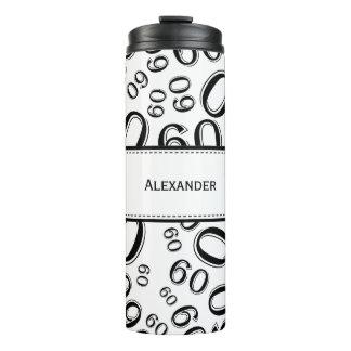 Personalize: Black/White Number 60 Random Pattern Thermal Tumbler