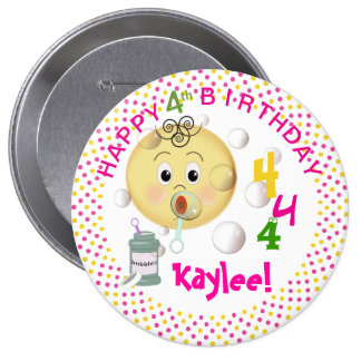 PERSONALIZE Blowing Bubbles Birthday for girl 4 Inch Round Button