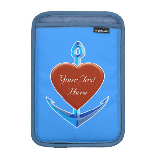 Personalize - Blue Anchor with Red Heart Shape iPad Mini Sleeves