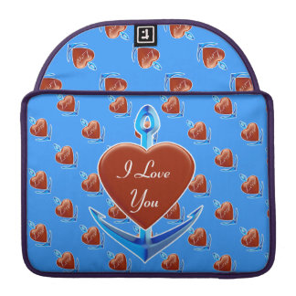 Personalize - Blue Anchor with Red Heart Shape MacBook Pro Sleeve
