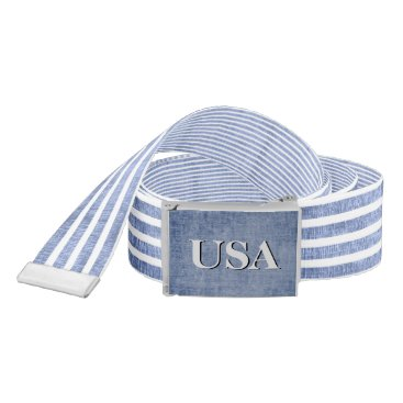 USA Themed Personalize:  Blue and White Patriotic Stripes Belt