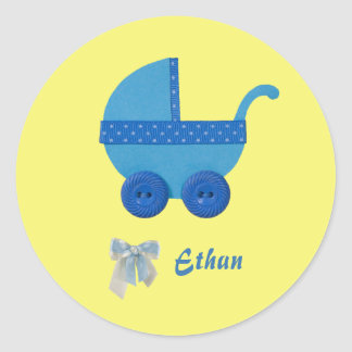 Personalize Blue Baby carriage baby boy shower Classic Round Sticker