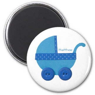 Personalize Blue Baby carriage baby boy shower Magnet