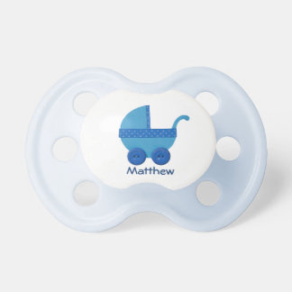 Personalize Blue Baby carriage baby boy shower Pacifier