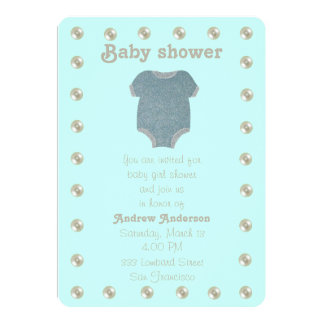 Personalize, blue baby shower card