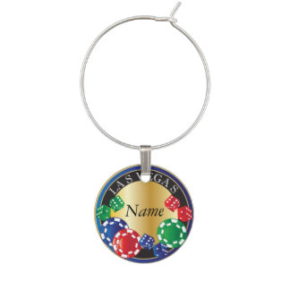 Personalize Blue Gambling Dice and Chips Wine Glass Charm