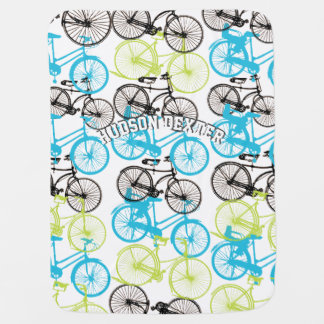 Personalize Blue Green Gray Vintage Bicycle Baby Stroller Blanket