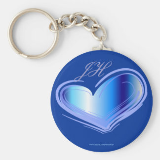 Personalize Blue Heart Keychain