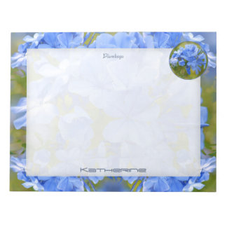 Personalize: Blue Plumbago Summer Flower Picture Notepad