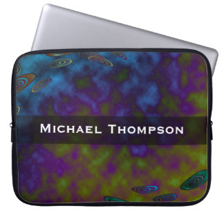 Personalize blue purple green abstract laptop sleeve
