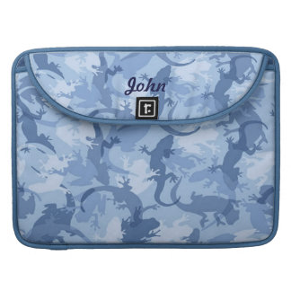 Personalize Blue Reptile Camouflage Macbook Sleeve