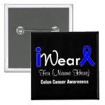 Personalize Blue Ribbon Colon Cancer 2 Inch Square Button