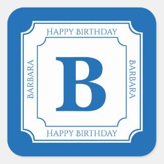 Personalize: Blue/White Bold Initials Birthday Square Sticker