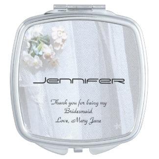 Personalize Bridesmaid Compact Mirror Vintage Lace