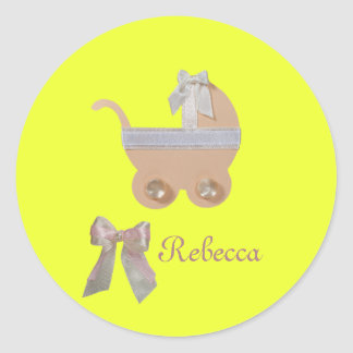 Personalize Bright peach color baby carriage Classic Round Sticker