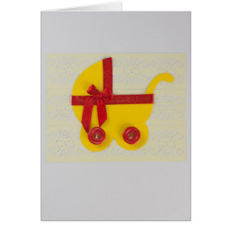 Personalize bright Yellow and red baby stroller Card