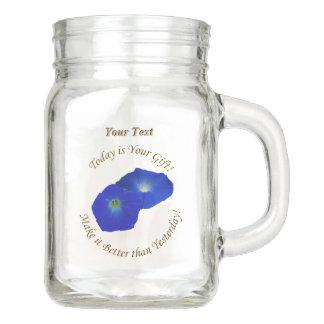Personalize Brilliant Blue Morning Glory Flower Mason Jar