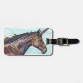 personalize Brown Unicorn horse color pencil art Tag For Luggage