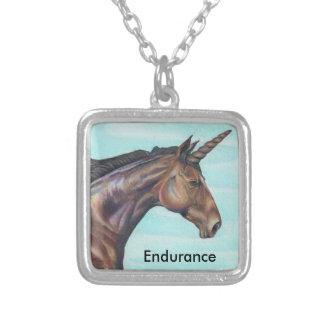 personalize Brown Unicorn horse color pencil art Necklaces