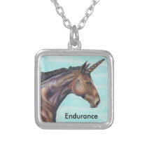 personalize Brown Unicorn horse color pencil art Silver Plated Necklace