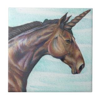 personalize Brown Unicorn horse color pencil art Tiles