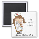 Personalize Brunette Nurse Gifts! 2 Inch Square Magnet