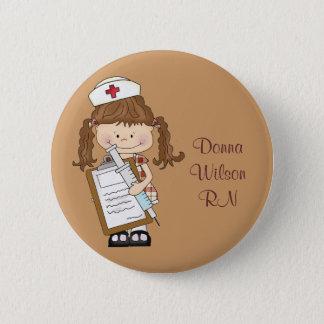 Personalize Brunette Nurse Gifts! Button