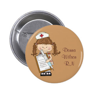 Personalize Brunette Nurse Gifts! Buttons