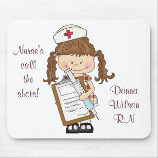 Personalize Brunette Nurse Gifts Mouse Pads