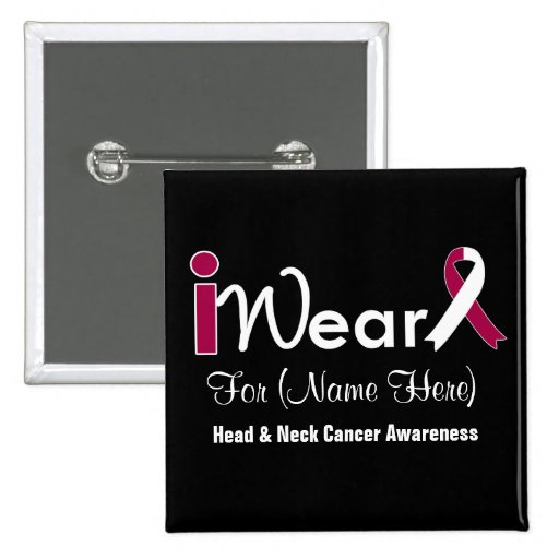 Personalize Burgundy & White Head Neck Cancer Pin